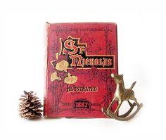 Antique St. Nicholas Christmas Book - 1887 Vintage Holiday Illustrated Magazine - 1800s Santa Stories - Rustic Holiday Decor