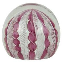 Vintage Murano Zanfirico Crown Glass Paperweight in Pink and White