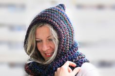 Women hooded infinity scarf, Calypso Hood, circle scarf in dark shades multicolor by polixeni19 on Etsy
