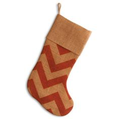 Find it at the Foundary - 20 in. Red Chevron Burlap Stocking