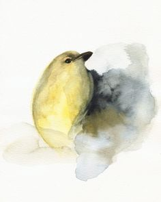 bird art  yellow bird  watercolor  COAL by amberalexander on Etsy