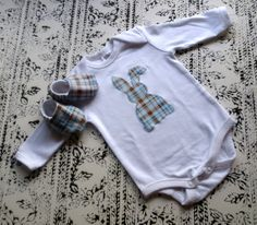 EASTER BABY SET bunny romper jumpsuit with matching // by MadeWise, $33.00