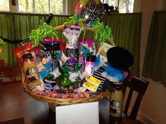 Birthday gift basket full of favorites.