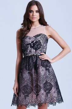 Black and Cream Floral Overlay Dress