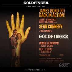 GOLDFINGER had its royal premiere in London at the Odeon, Leicester Square on September 17 1964. The poster was designed by Robert Brownjohn who based the design on his own GOLDFINGER title sequence.