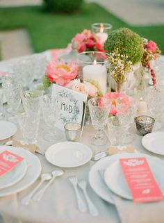 Floral Design: Wayne Riley Flowers - Glamorous French Riviera Wedding by Lavender And Rose (Event Design) + Greg Finck (Photography) Coral Peonies, Coral Pink, Wedding Decorations, Table Decorations, French Wedding, Wedding Table Numbers, Real Weddings, Destination Weddings, Wedding Styles