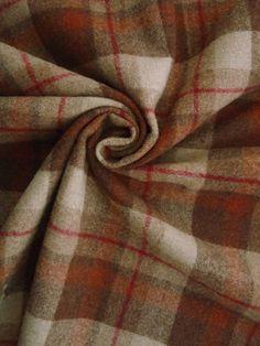 "BQC3084 Shetland Wool Saddle Plaid Warm Beige, Brown, Muted Salmon 58"" Wide"