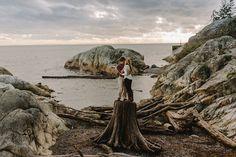 Unique Vancouver engagement portrait session. Photo taken at Lighthouse Park.