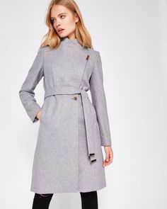 Wool-cashmere wrap coat - Light Gray | Jackets And Coats | Ted Baker