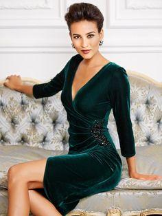 Embellished velour wrap dress motivation dress