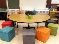 Use Storage Ottomans As Seating For A Guided Reading Table ... Store supplies and reading group books inside. #Teaching #Teach #Decorations #Decorate #Decor #ClassroomManagement #StorageOttoman