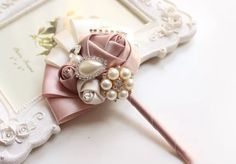 brooch boutonniere wedding bouquet bridal by iamshoppingqueen