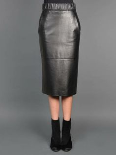 Wizards go everywhere w/ Neil Barrett leather skirt with concealed back zip, elasticated waistband and two pockets
