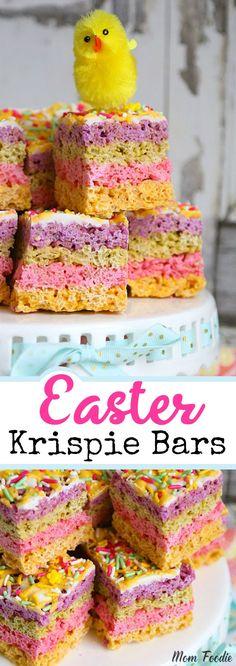 Easter Rice Krispie Treats - Striped Pastel Chocolate Krispie Bars for Easter