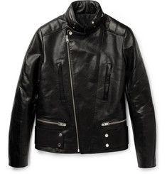 BalenciagaHooded Leather Biker Jacket