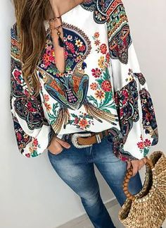 Shop Floryday for affordable Tops. Floryday offers latest ladies' Tops collections to fit every occasion. Look Fashion, Fashion Outfits, Womens Fashion, Fashion Trends, Fashion Blouses, Fashion Photo, Spring Fashion, High Fashion, Fashion Ideas