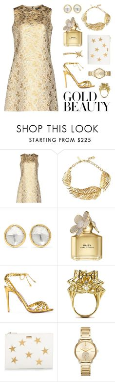 """Gold Beauty"" by lgb321 ❤ liked on Polyvore featuring Dolce&Gabbana, Oscar de la Renta, Pippa Small, Marc Jacobs, Aquazzura, John Brevard, STELLA McCARTNEY, Michael Kors, Sydney Evan and gold"