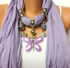 Lavender jewelry scarf with very pretty butterfly pendant, Christmas, birthday gift or for you NEW SEASON This beautiful scarf made with solid lavender color 100% Polyester soft scarf, adjustable acrylic scarf accessories and very pretty butterfly pendant. I love scarfs because it helps to complete an outfit, they are unique, classic, elegant and match everything, also makes an perfect gift. +++++SHIPPING+++++ My standard domestic shipping services are First Class & Priority M...