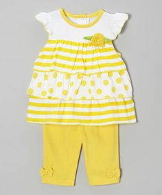 Look at this #zulilyfind! Yellow Polka Dot Flower Tunic & Pants - Infant by Weeplay Kids #zulilyfinds