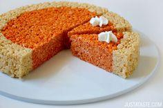 Pumpkin Pie Rice Krispies Treats | recipe via justataste.com