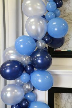 Balloon Garland Kit - A Periwinkle In Time Balloon Tower, Balloon Columns, Balloon Garland, The Balloon, Balloon Decorations, Birthday Decorations, Clear Balloons, Large Balloons, Blue Balloons