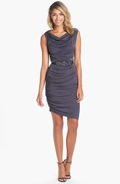 Vera Wang Embellished Drape Jersey Sheath Dress | Nordstrom. I think maybe something a little more exciting than this, but the belt is a nice detail (it looks like mine!)