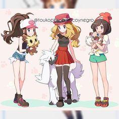 Female trainers and there puppy pokemon Pokemon Mew, Pokemon Hilda, Pikachu, Pokemon Gijinka, Black Pokemon, Pokemon Fan Art, Pokemon Kalos, Pokemon Cosplay, Chibi
