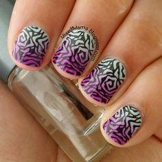 Nail art created by #MixedMama using #BM618 #nailstamp #ShopBM