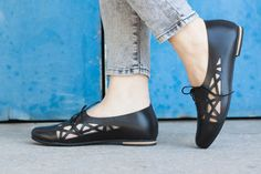 Summer Sale 20% OFF Black Leather Shoes Leather Flats by BangiShop
