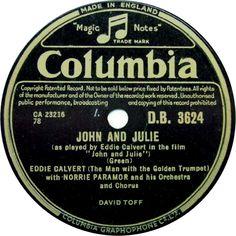 78 RPM - Eddie Calvert - John And Julie / Heart Of The Sunset - Columbia - UK - D.B. 3624