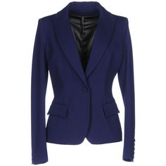 Plein Sud Jeanius Blazer (31.755 RUB) ❤ liked on Polyvore featuring outerwear, jackets, blazers, blue, flap jacket, blue jersey, blue blazer jacket, single button blazer and multi pocket jacket