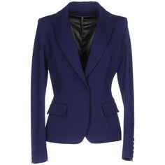 Plein Sud Jeanius Blazer (31.755 RUB) ❤ liked on Polyvore featuring outerwear, jackets, blazers, blue, flap jacket, blue jersey, blue blazer jacket, single button blazer and multi pocket jacket