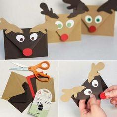 Envelopes for Christmas cards Diy Christmas Cards, Christmas Gift Wrapping, Christmas Crafts For Kids, Xmas Cards, Kids Christmas, Handmade Christmas, Christmas Gifts, Christmas Decorations, Christmas Ornaments