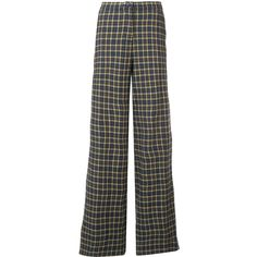 Robert Rodriguez plaid palazzo pants ($295) via Polyvore featuring pants, grey, palazzo trousers, robert rodriguez pants, grey cotton pants, tartan trousers and plaid pants