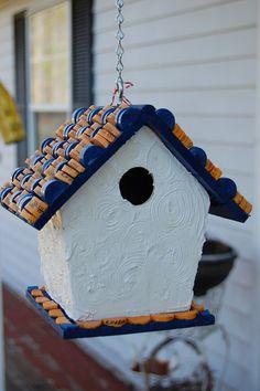 Blue and Orange Wine Cork Bird House by TikiCommander on Etsy