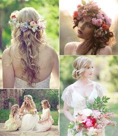 Novias con estilo en primavera - flores en el pelo