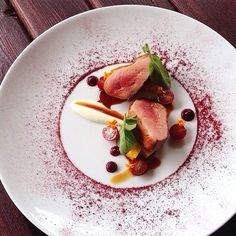 Duck breast, pink peppercorns pickled grapes, beetroot powder and purée, and 15 year balsamic honey reduction // Poultry course | TheArtOfPlating, on Instagram