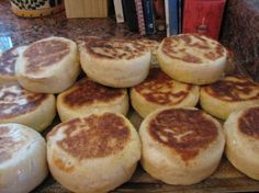 Sourdough English Muffins Recipe - Food.com ~ {Found this recipe on the internet, unfortunately I can't remember where. These take some advance planning, however they are delicious and easy to make! I've made them in my little galley on the sailboat. To ensure that muffins are done inside, be sure to bake them on a very low heat. If using english muffin rings a cookie sheet can be placed over the top after turning them once.}