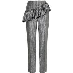 Rasario     Metallic Ruffle Waist Pants ($695) ❤ liked on Polyvore featuring high rise pants, high rise trousers, high-waist trousers, frilly pants and high-waisted pants
