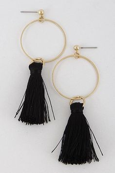 Black Tulum Tassel Earrings