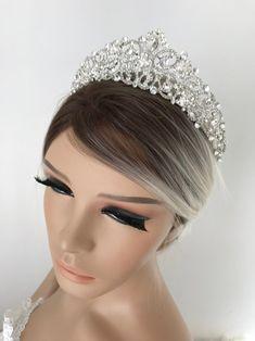 Wedding Crown Bridal Crown Full Crown Wedding Tiara Swarovski | Etsy Bridal Crown, Bridal Tiara, Silver Tiara, Diamond Crown, Swarovski Stones, Crystal Crown, Tiaras And Crowns, Wedding Hair Accessories, Hair Pieces