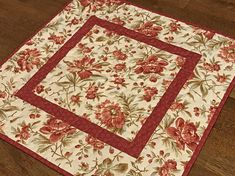 Quilted Red Floral Table Topper Red Rose Table Topper