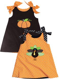 Two piece reversible for the girls: front- pumpkin/ back- turkey