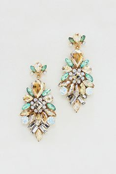 mint and champagne crystal earrings