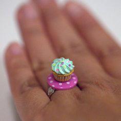 Kawaii Miniature Food Rings  Mini Cupcake on by fingerfooddelight, $10.00