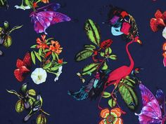 Birds, Butterflies & Flowers Print Stretch Polyester Dress Fabric  Multicoloured | Fabric | Dress Fabrics | Minerva Crafts