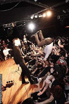 Ryan Gosling stage diving at the American Nightmare reunion.