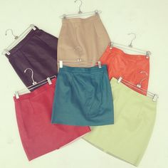 The Leather Mini Skirt in an assortment of colors. #AmericanApparel #leather #leatherskirts