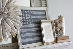 Fourth of July Mantel - Meadow Lake Road Fourth Of July Decor, 4th Of July, Decorating Your Home, Decorating Ideas, Decor Ideas, Summer Mantel, America's Favorite Pastime, Holiday Ideas, Holiday Decor
