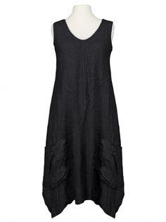 Damen Leinenkleid V-Ausschnitt, schwarz von Spaziodonna bei www.meinkleidchen.de